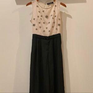 AKIRA Cream and Black Beaded Jumpsuit